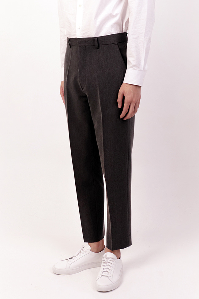 Tapered Crop Slacks (Grey)