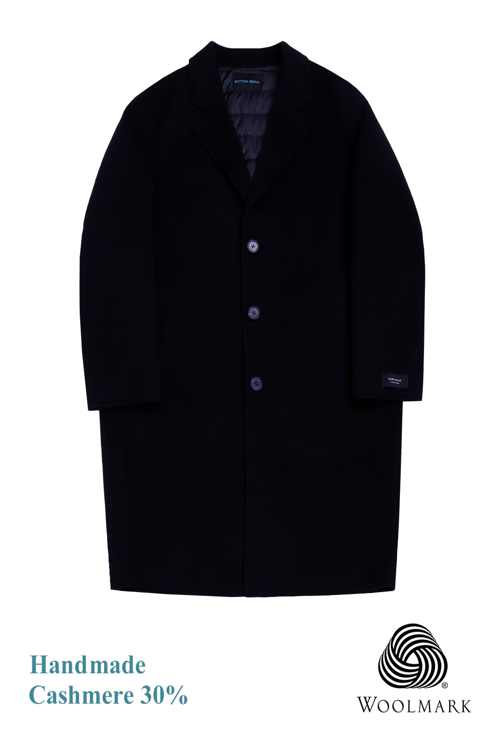 Handmade Over Coat (cashmere 30%) (Black) [오리털 안감]