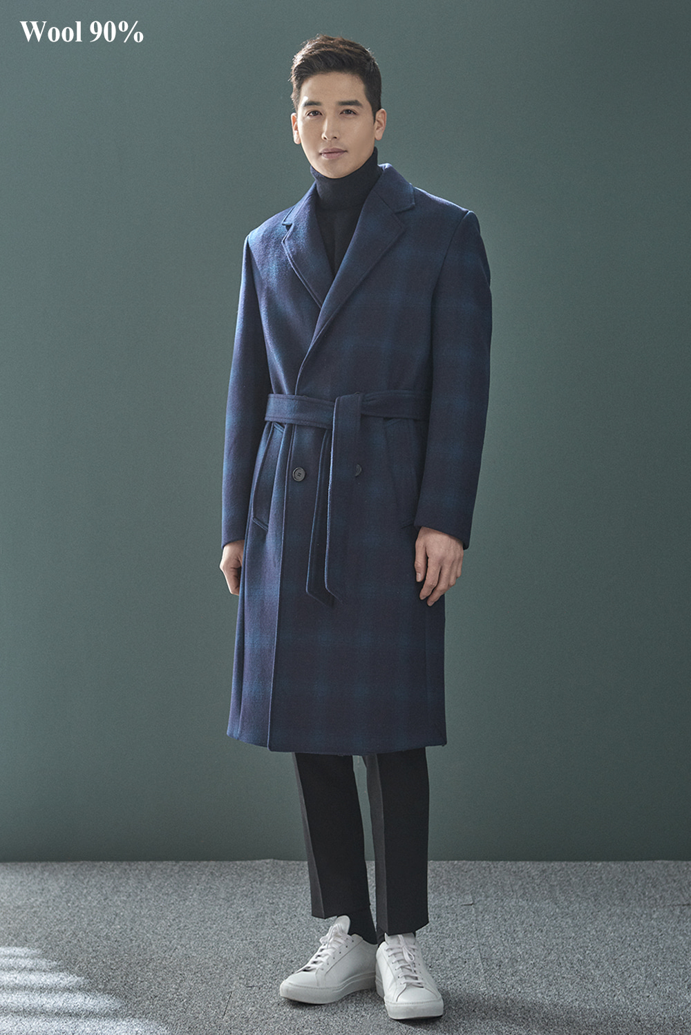 Check Robe Coat (Wool 90%)
