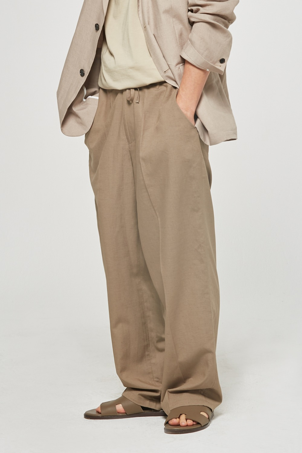 Linen Pocket Wide Pants (Khaki Beige)