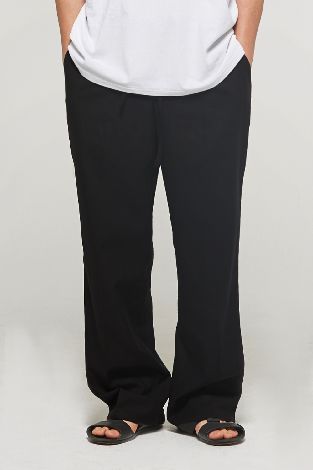Linen Pocket Wide Pants (Black)