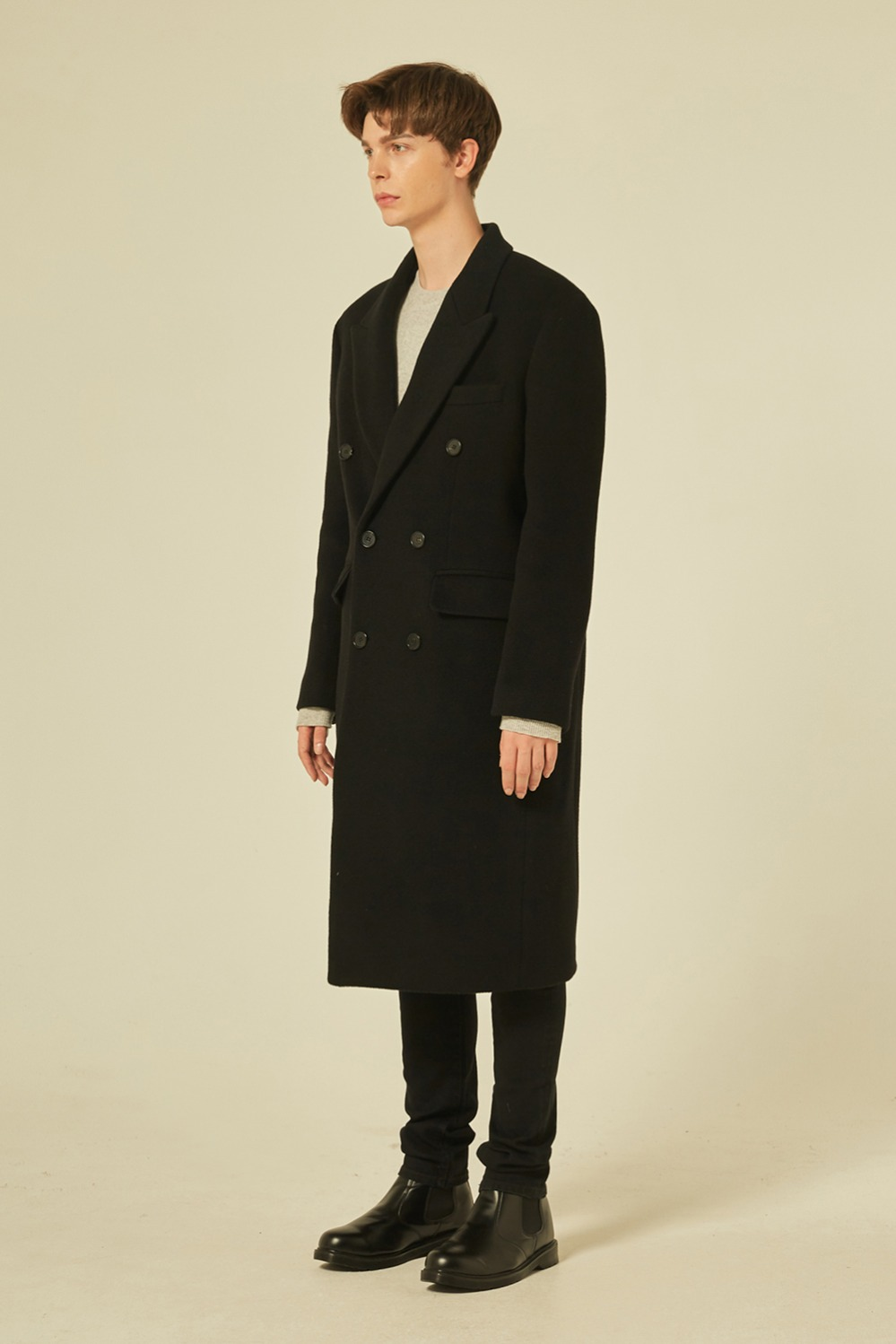 Oversize Peaked Double Coat (Black)
