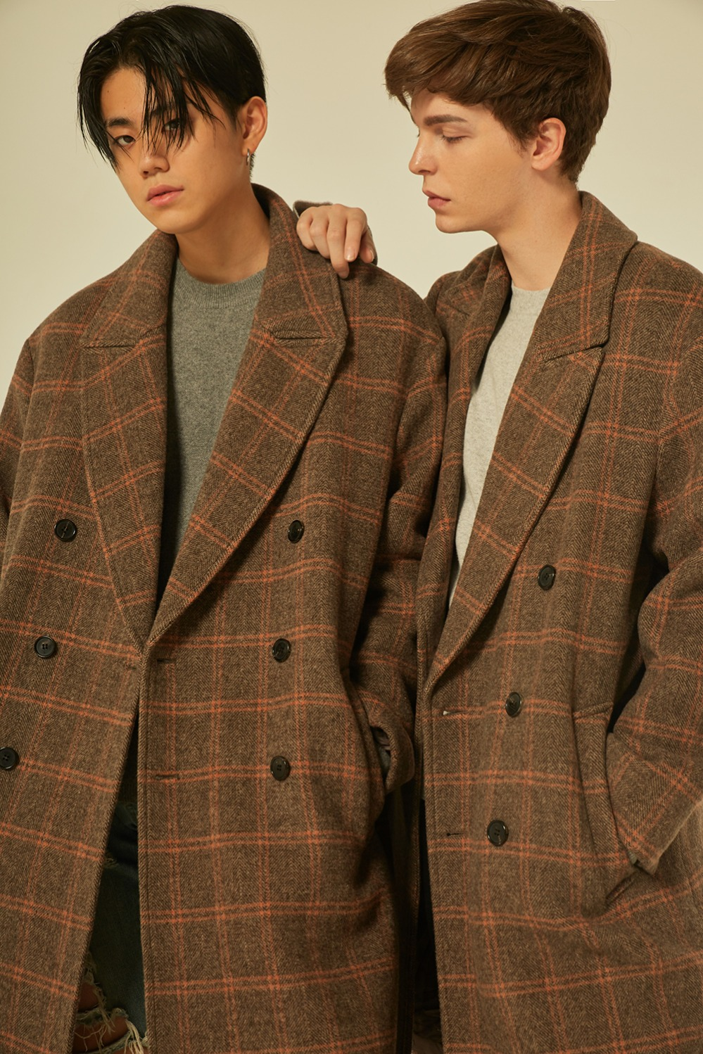 Oversize Check Double Coat