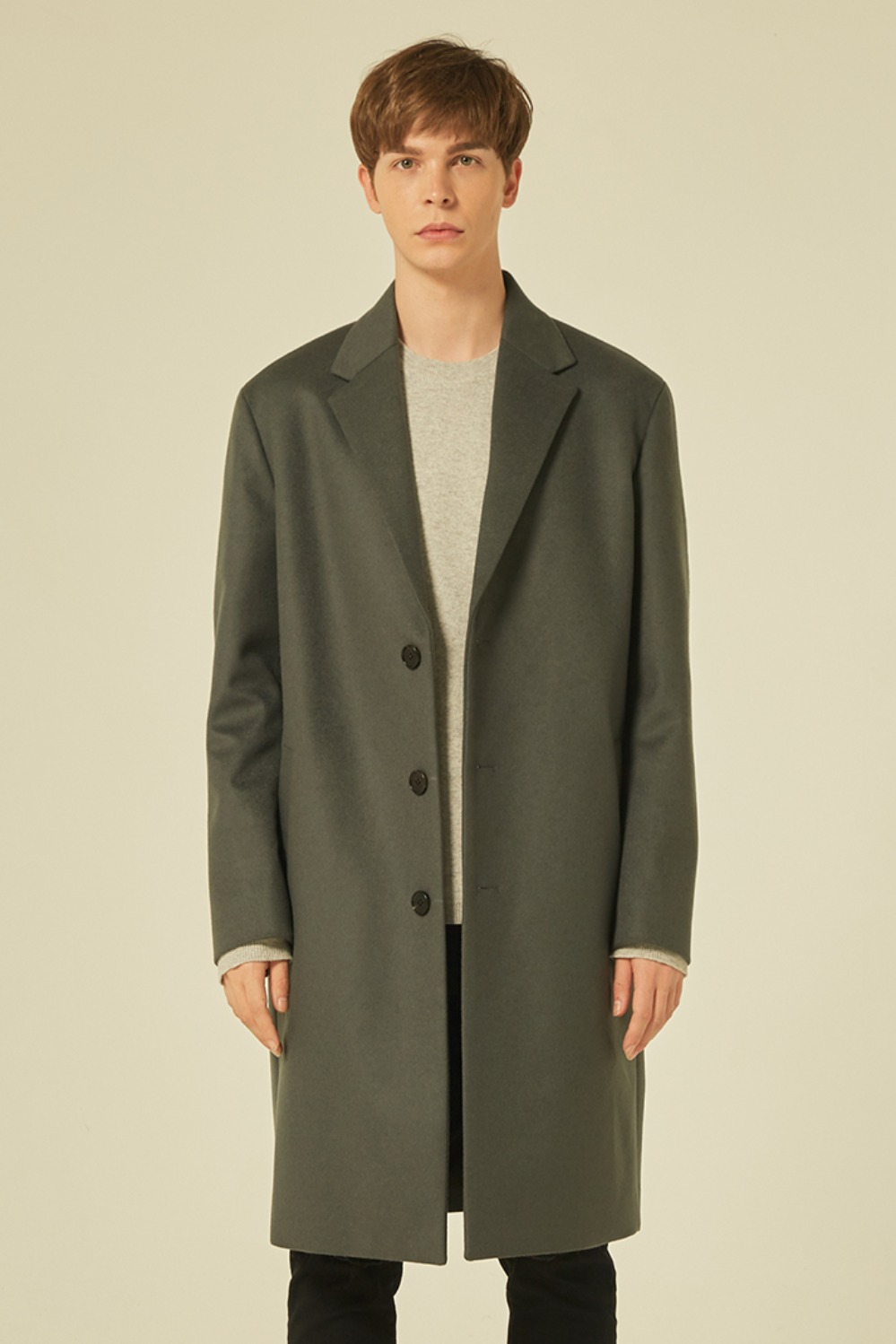 Oversize Single Coat (Dove Grey)[Cashmere 15%]