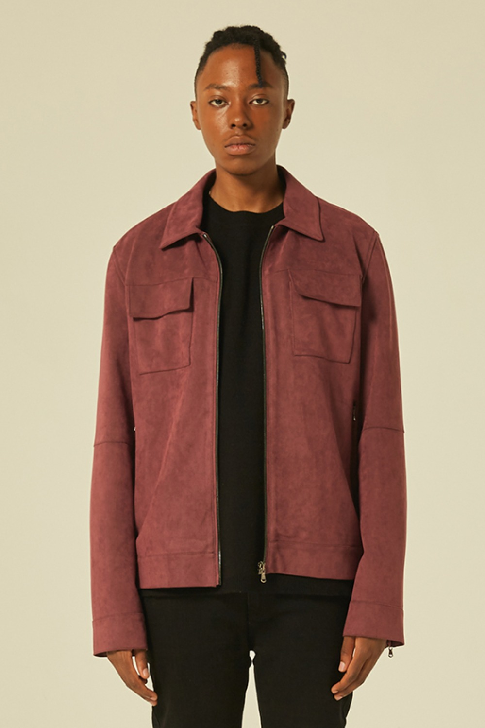 Suede jacket (Lampo Zipper) (Burgundy)