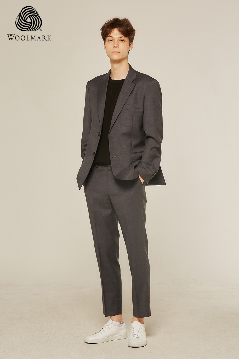 Pure Wool 100% Suit Pants (Grey)