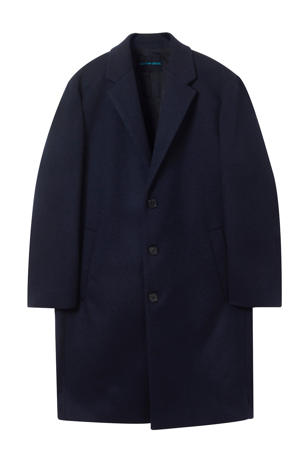 Oversize Single Coat (Navy)[Cashmere 15%]