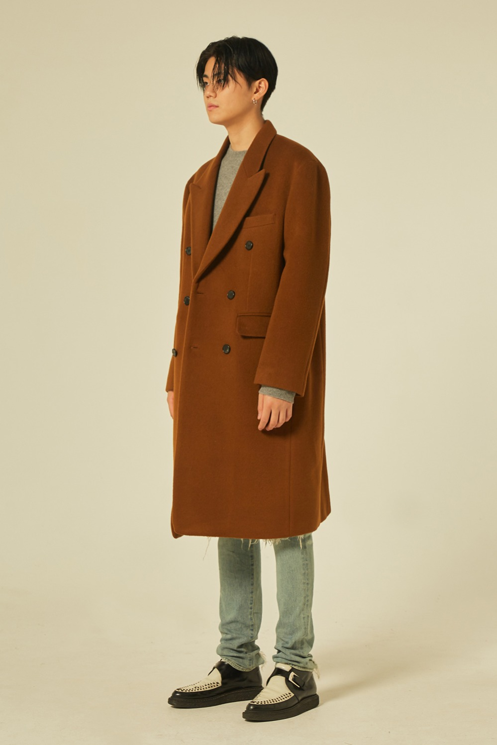 Oversize Peaked Double Coat (Brown)