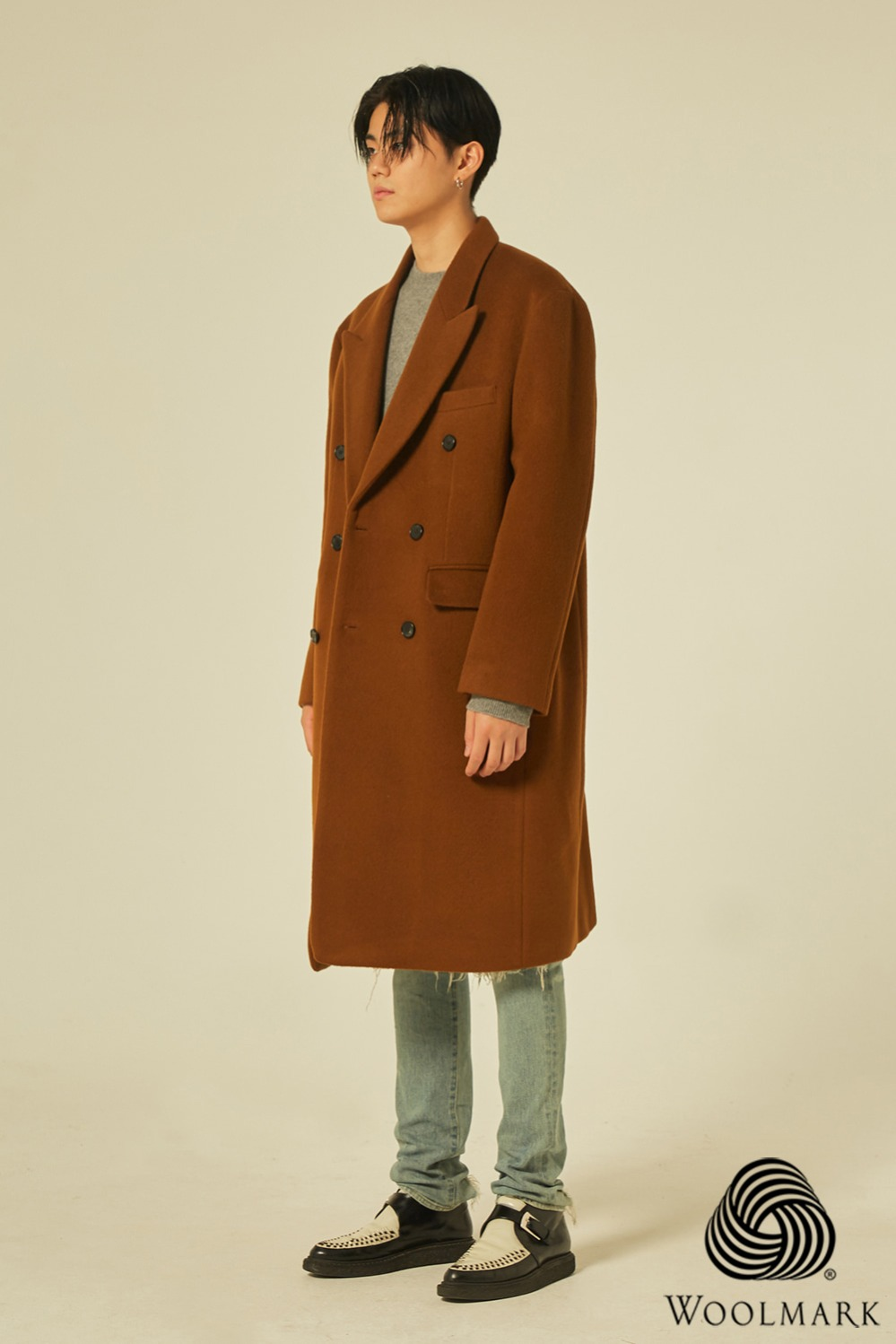 Wool 100% Peaked Double Coat (Brown)