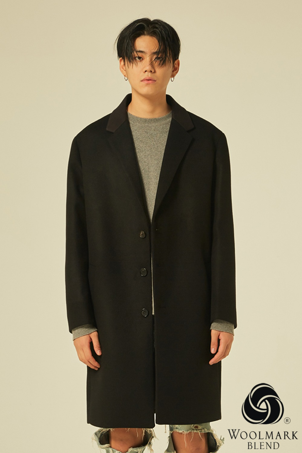 Oversize Single Coat (Black)[Cashmere 15%]
