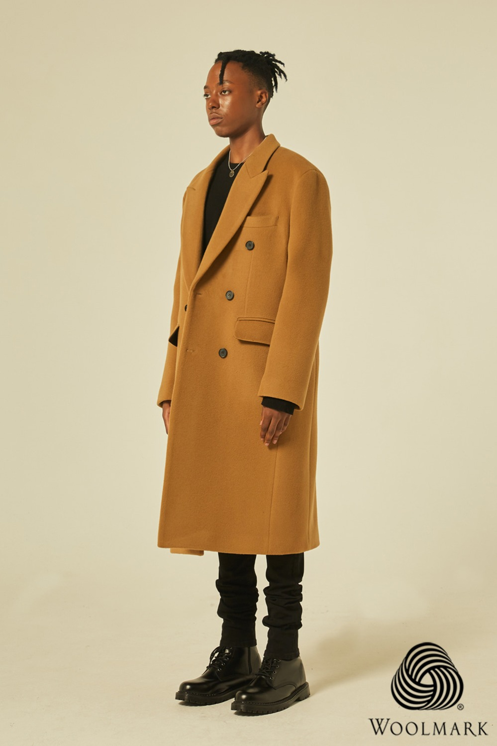 Wool 100% Peaked Double Coat (Camel)