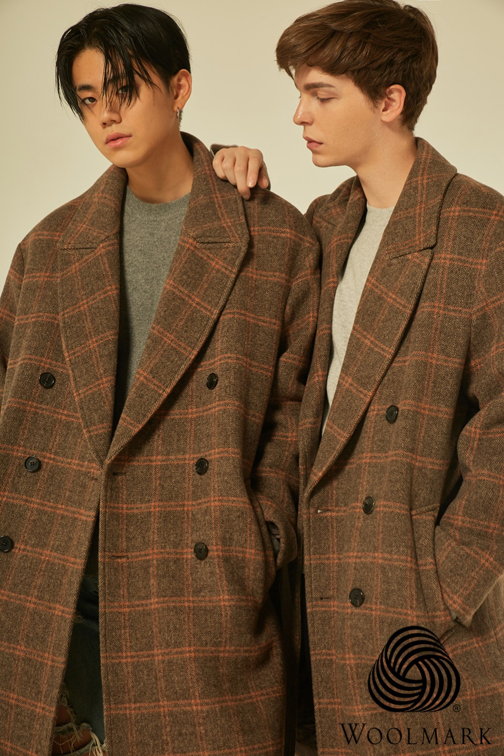 Wool 100%Check Double Coat
