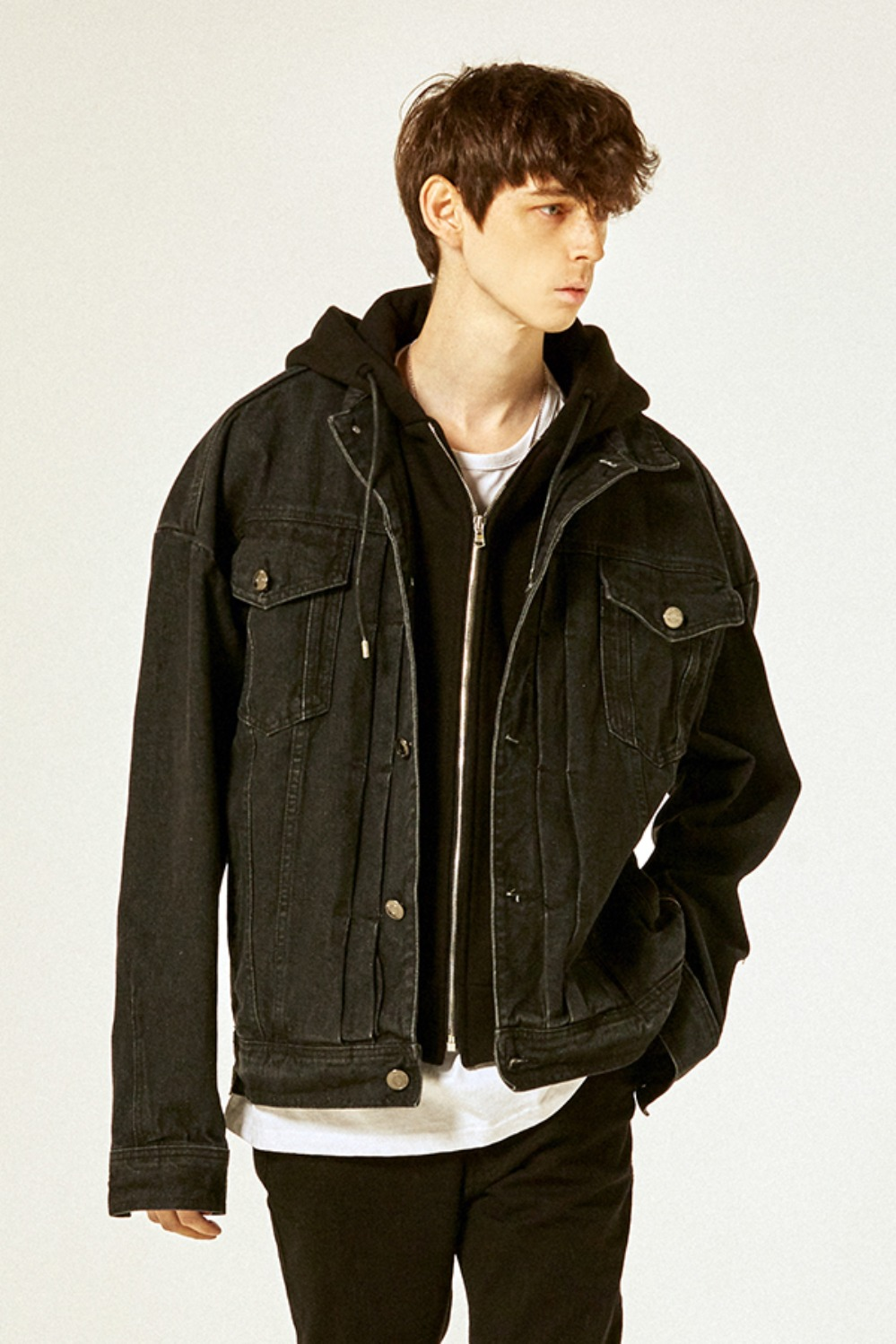 Detachable Hood Trucker Jacket(Lampo Zipper)