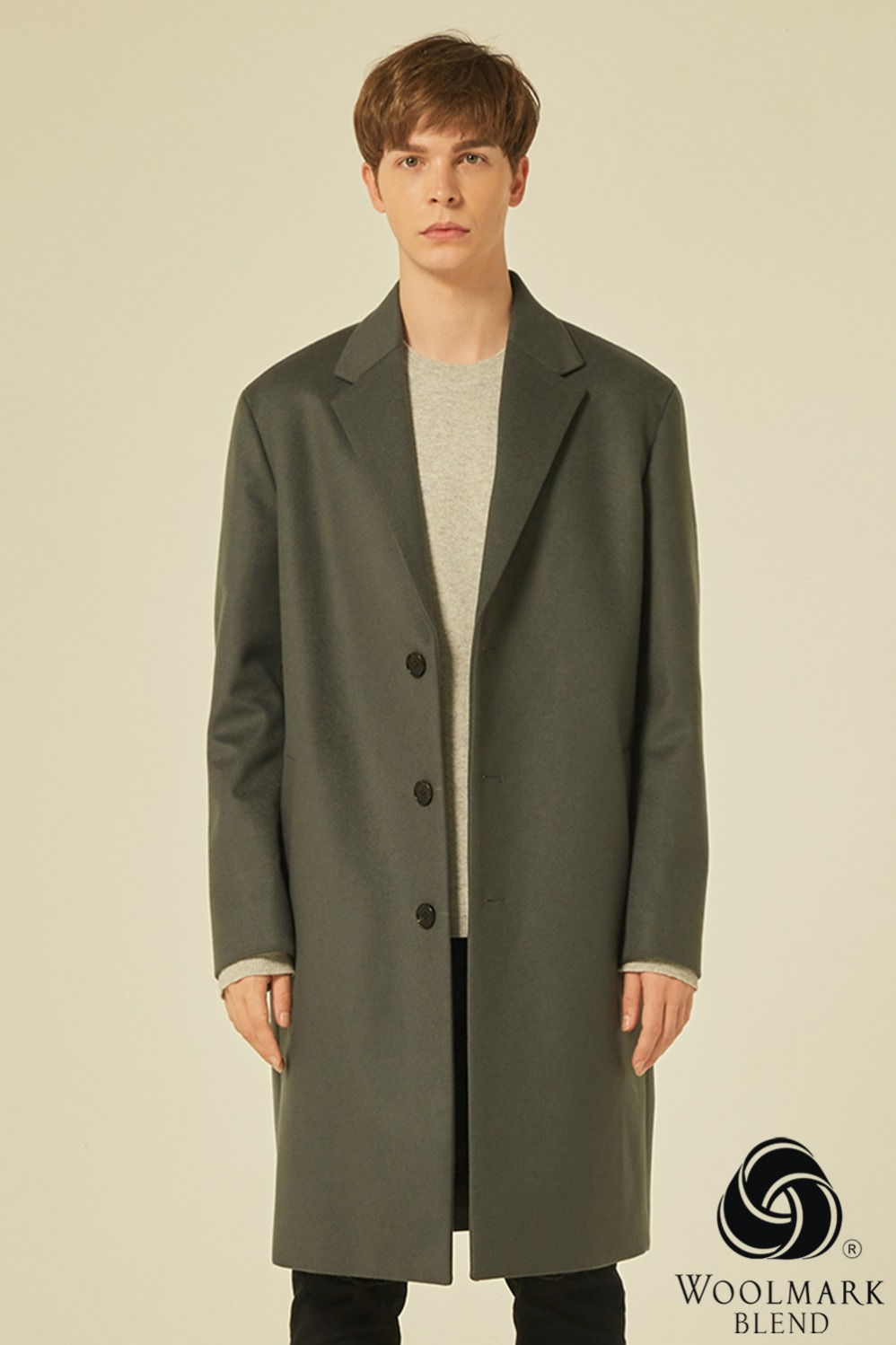 Oversize Single Coat(Dove Grey)[Cashmere 15%]