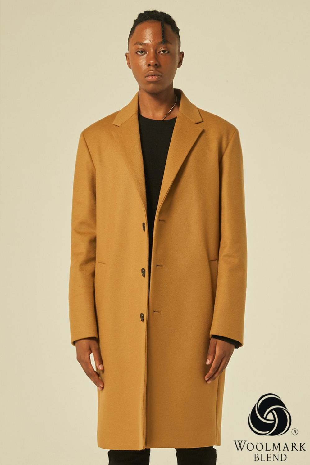 Oversize Single Coat (Camel)[Cashmere 15%]