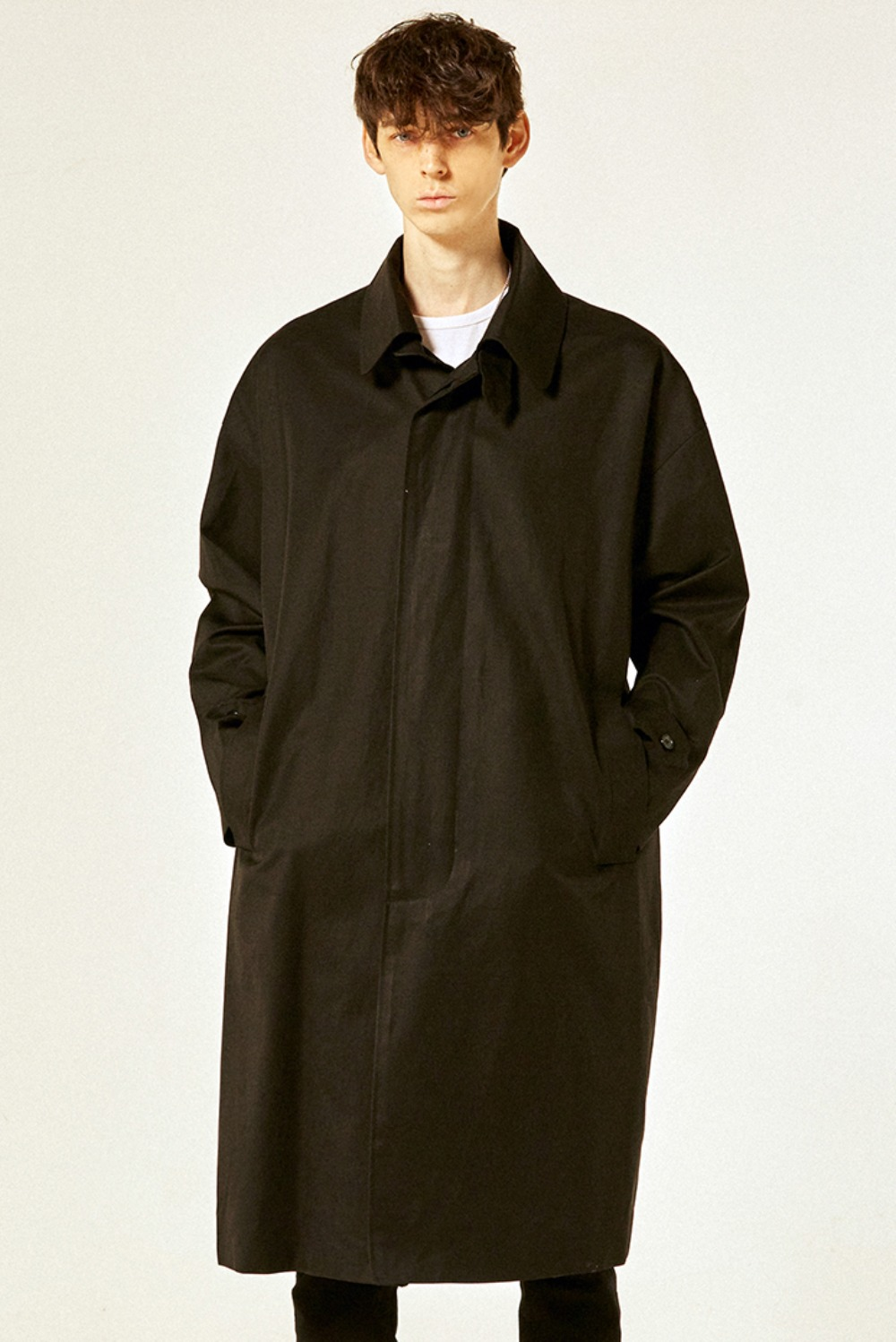 Oversize Balmacaan Trench Coat (Black)